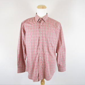 Alan Flusser Mens Button Front Shirt Red Plaid